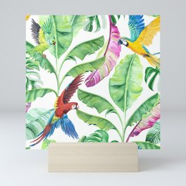 Tropical leaves banana and macaw parrots. Mini Art Print