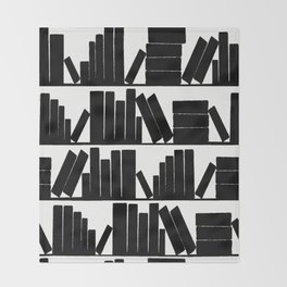 Library Book Shelves, black and white Throw Blanket