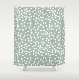 Light Gray Green and White Polka Dot Pattern Shower Curtain