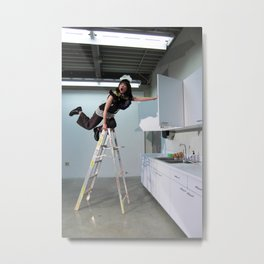 Clown On The Ladder Metal Print