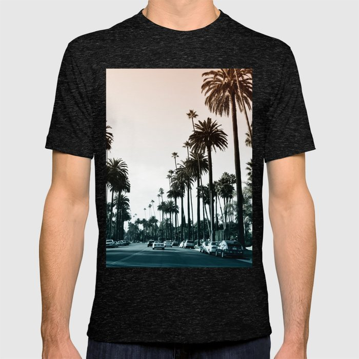 Los Angeles Graphic T-shirt by Tamsin Lucie - Tri-Black - SMALL - Mens Fitted Tee