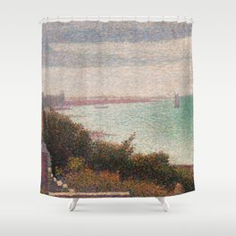 "Georges Seurat ""Grandcamp, un soir"" Shower Curtain"