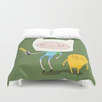 finn Duvet Covers featuring Finn & Jake by Rod Perich