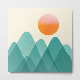 Abstraction_Mountains_SUNSET_Landscape_Minimalism_003 Metal Print