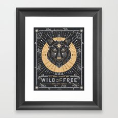 Wild & Free Wolf – Gold & Grey Framed Art Print