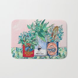 Jungle Botanical in Colorful Cans on Pink - Still Life Bath Mat