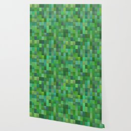 Green Mosaic Tile Pattern Wallpaper