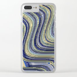 mae - wavy abstract design periwinkle navy blue soft yellow Clear iPhone Case