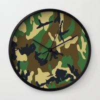 military Wall Clocks featuring Military - Camouflage by Three of the Possessed