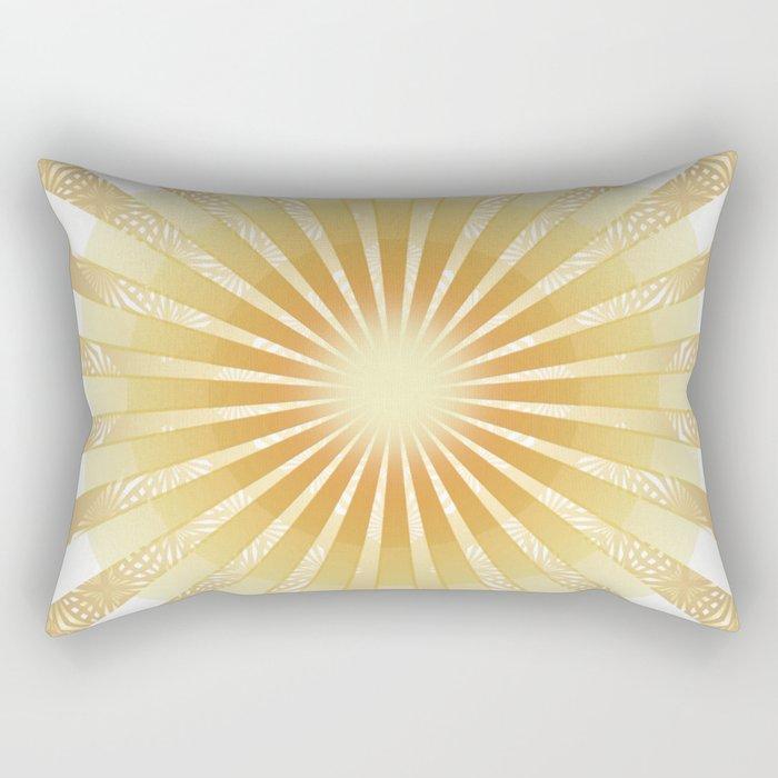 Golden Rays Mandala Rectangular Pillow