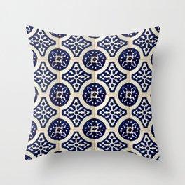 talaveramexican tile in blu Throw Pillow