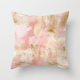 Rustic Gold and Pink Abstract Throw Pillow