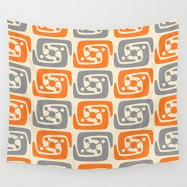 Mid Century Modern Galaxy Pattern 131 Orange and Gray Wall Tapestry