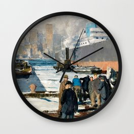 George Bellows - Men of the docks (new color edit) Wall Clock