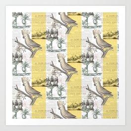 Vintage Tropical Cockatoo Pattern Art Print