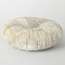 Map of Yellowstone National Park (1886) Floor Pillow