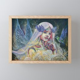 Forest fairy digital print, Fantasy forest fairy poster, Beautiful fairy Wall print, Magical forest Framed Mini Art Print