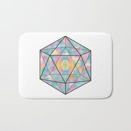 Geometric Icosahedron Watercolor Bath Mat