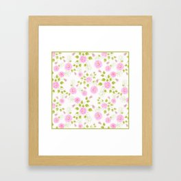 Pink flowers on a white background Framed Art Print