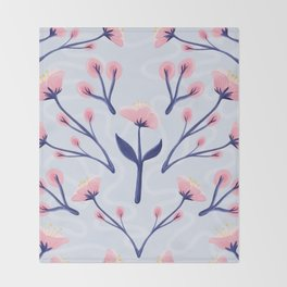 Mod Icy Pink Flowers Throw Blanket
