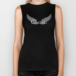 Castiel with Wings White Biker Tank