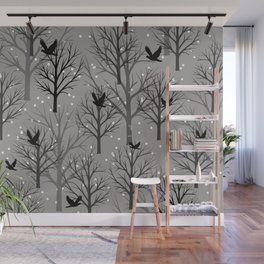 Winter Tree birds and snowflakes - Christmas design Wall Mural