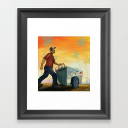 Paletero On the Move in the LA Sunset Framed Art Print