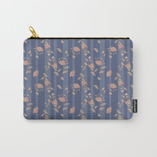 Retro . Floral pattern on a blue striped background . Carry-All Pouch