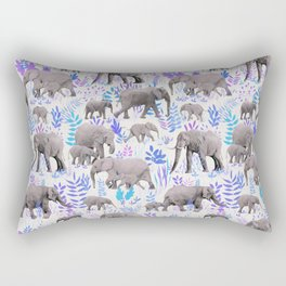 Sweet Elephants in Aqua, Purple, Cream and Grey Rectangular Pillow