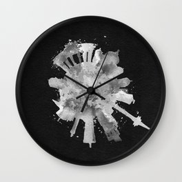 Berlin, Germany (Deutschland) Black and White Skyround / Skyline Watercolor Painting (Inverted Ver.) Wall Clock