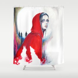 What big eyes you have - ink illustration Shower Curtain