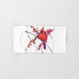 Red Cardinal and Berries, Christmas Red design Christmas Decor Gift Hand & Bath Towel