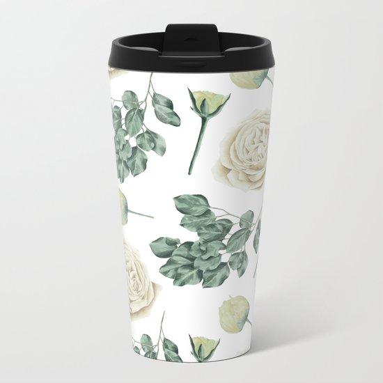 Flower Shop Ivory Cream Roses Pattern Metal Travel Mug