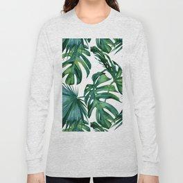 Classic Palm Leaves Tropical Jungle Green Long Sleeve T-shirt