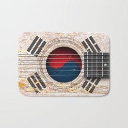 Old Vintage Acoustic Guitar with South Korean Flag Bath Mat