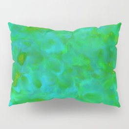 Fresh Green and Turquoise Lagoon Abstract Pillow Sham