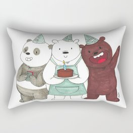 We Bare Bears inspired Birthday Party - Panda, Ice Bear, Grizzly Bear Rectangular Pillow