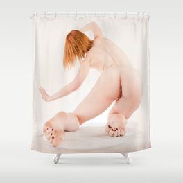8636s-MM Megan from Behind Leaning Left High Key Fine Art Nude Curled Toes Shower Curtain