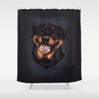 rottweiler Shower Curtains featuring Rottweiler 2 by Mickeyila Studios