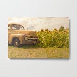 Yellow Truck & yellow Sunflowers Metal Print