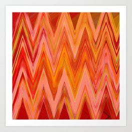 Coral geometric tribal aztec chevron zig zag stripes ikat pattern andes zigzag hipster print Art Print