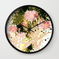 flowers and splash Wall Clock