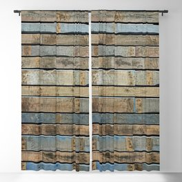 distressed wood wall - Blue and brown planks Blackout Curtain