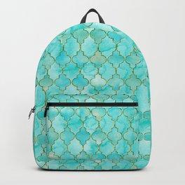 Luxury Aqua Teal and Gold oriental quatrefoil pattern Backpack