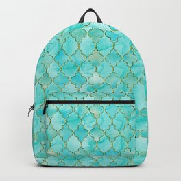 Luxury Aqua Teal and Gold oriental quatrefoil pattern Backpack