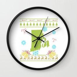 Rhode Island Christmas Ugly Shirt Wall Clock