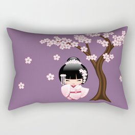 Japanese Bride Kokeshi Doll on Purple Rectangular Pillow