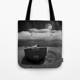 Row Boat on a Sandy Beach in Biscayne Bay Florida Tote Bag