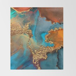 Abstract Blue And Gold Autumn Marble Throw Blanket