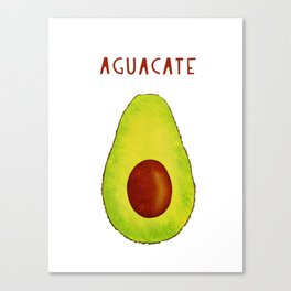 Aguacate Avocado Red Hand Lettering Canvas Print